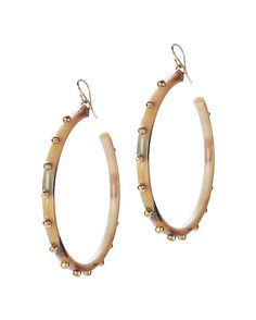 Ashley Pittman Duara Studded Horn Hoop Earrings: Artisanal light horn & hammered bronze studs stand out on…