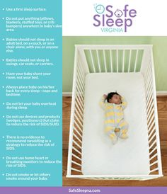 Sudden Unexpected Infant Death (SUID) is the leading cause of death for babies 1 month old until 1 year old in Virginia and nationwide. Almost all of these deaths occur while the baby is sleeping. Portable Crib, Baby Box, Family Planning, Baby Learning, Sleep Sacks, Baby Safe, Injury Prevention, Bedtime, How To Fall Asleep