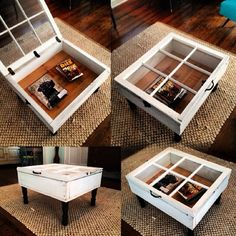 This window coffee table is actually quite simple. It is comprised of a salvaged window placed on top of a wooden frame with table legs. Window Coffee Table, Window Table, Diy Coffee Table, Funky Junk Interiors, Diy Storage For Small Spaces, Diy Rangement, Diy Casa, Old Windows, Window Frames