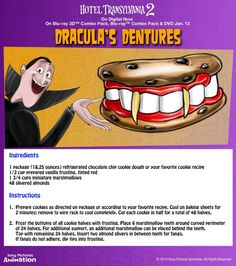 Drac wants you to sink your teeth into something sweet! Grab some cookie dough and mini-marshmallows and check out this fun recipe for Dracula's Fang Dentures. Don't forget the frosting! Hotel Transylvania Party, Dinner And A Movie, Family Movie Night, Halloween Food For Party, Halloween Treats, Halloween Dinner, Dracula, Recipe Cup, Hotel Party