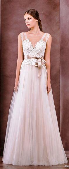 Divine Atelier wedding dress 2015 bridal sleeveless strap v-neckline embroidery bodice tullet a line gown inna