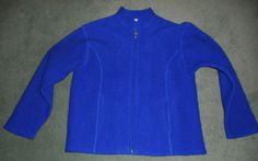 Women's Blue EMINENT by LISA 100% Boiled Wool Folk Style Zipper Jacket, Size XL #EMINENTbyLISA #FolkBlueWoolZipperJacket #Casual