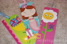 Bookmarks made out of old birthday cards. Great idea!