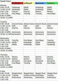 Harry Potter schedule.