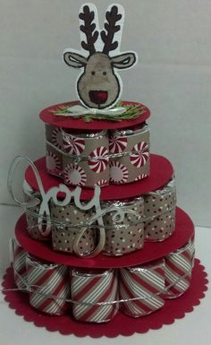 reindeer nugget cake by muscrat - Cards and Paper Crafts at Splitcoaststampers stampinupchristmas Christmas Craft Show, Christmas Paper Crafts, Stampin Up Christmas, Christmas Candy, Homemade Christmas, Christmas Treats, Candy Labels, Candy Wrappers, Christmas Cookie Cutters