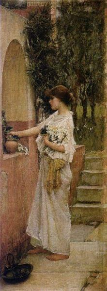 """A Roman Offering"".  (1890).  ""Uma Oferta Romana"". (by John William Waterhouse)."