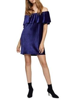 Sanctuary Women's Zodiac Off The Shoulder Velvet Dress - Nocturne - Xs