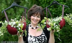 haha! bras used as hanging planters