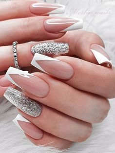 White Tip Acrylic Nails, Acrylic Nails Coffin Short, Coffin Shape Nails, White Coffin Nails, French Tip Nail Designs, French Tip Nails, French Tips, White French Nails, French Tip Design