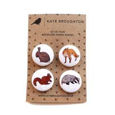 Woodland animal badge set £4.00