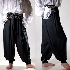 These mens or womens pirate/harem pants have elastic and drawstring waist. They button at the hip and cuffs for custom fitting. Renaissance Costume, Medieval Costume, Renaissance Pirate, Harem Pants Men, Trousers, Harlem Pants, Pirate Fashion, Cool Costumes, Costume Ideas