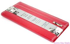 Business Card Holder Folio The Red Collection 96 Clear Sleeves Padded Vinyl Case #TheRedCollection