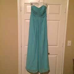 *BRAND NEW* David's Bridal Dress size 6 Spa color Never worn David's Bridal long strapless chiffon dress in Spa color.  I bought this as a backup because I was in between sizes but didn't end up wearing it. David's Bridal Dresses Strapless