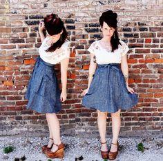 The fabulous Elsie wearing Simone's Rose / the Heartland skirt - A Beautiful Mess Blog