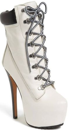White Timberland-Style boot #shoes