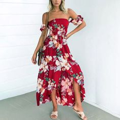 Antheia Off Shoulder Floral Maxi Dress - The Wild Flower Shop     Get feminine with fresh floral prints & fun in the sun flareness. Off shoulder design and sexy cut out back make this a gorgeous choice for day or nite outing! • Elastication along hemline • Elasticated waist • Partially lined • Weight: 260 gram Material: Cotton blend    $37