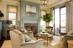 Painted fireplace surround in living room | touch of teal-grayish | Elegant living room