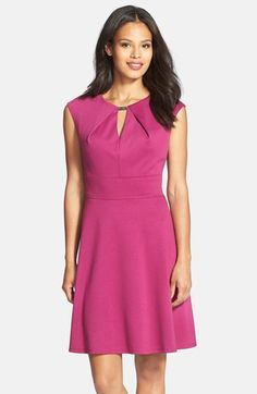 Donna Ricco Textured Knit Fit & Flare Dress at Nordstrom.com. A metal tab closing the front keyhole adds brassy polish to a color- and texture-rich dress featuring a smartly tailored bodice, inset waistband and cleanly flared skirt. $138