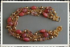 Shades of Pink Czech Glass and Gold Plated by SimplyBeadedTreasure, $30.00  #handmadejewelry