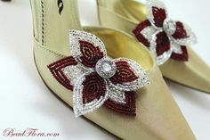 shoe clips, crimson holly red