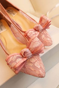 Morpheus Boutique  - Pink Lace Bow Leather Lady Heels