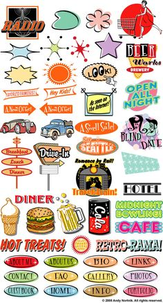Fifties Clipart Clip Art - Commercial and Personal Use by steampunkartist1 on Etsy