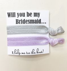 A personal favorite from my Etsy shop https://www.etsy.com/listing/465467948/bridesmaid-hair-tie-favorshair-tie-card