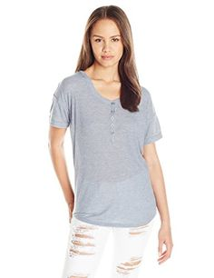Women's Henley Shirts - Unionbay Juniors Arlington Lacey Knit Top -- Continue to the product at the image link.