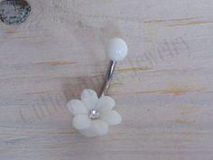 White Flower Rhinestone Belly Piercing by cassjewelryboutique, $10.00