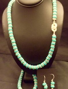 3 piece turquoise jewelry set with sterling silver by LisaWiedebushJewelry on Etsy