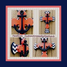 Navy Blue Chevron and Apricot Wall Cross with Anchor