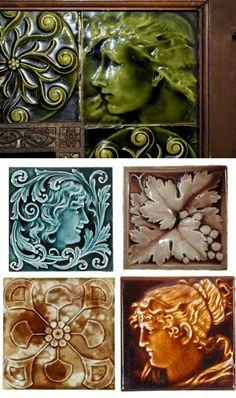 Antique fireplace ceramic tiles