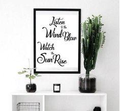 Listen to the Wind Print, Watch the Sun Rise Print, 11 x 14 Print, Bedroom Art, Saying Print, Inspirational Print, Home Decor Print, Nature