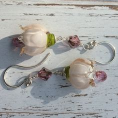 Pink Topaz and White Rose Lampwork by WithTheseHandsCreate on Etsy