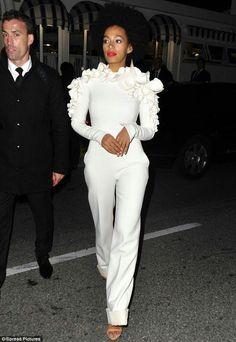 Solange killed this all white jumpsuit