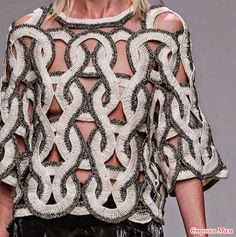 Patternprints Journal: Prints, Patterns And Surface Effects: Beautiful Details From Paris Fashion Week (Woman Collections Spring/Summer / 6 - Diy Crafts - hadido Black Crochet Dress, Crochet Blouse, Knit Crochet, Crochet Braids, Fashion Week Paris, Crochet Clothes, Pulls, Print Patterns, Knitwear