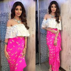 #shilpashetty @officialshilpashetty looking gorge in @masabagupta  @aquamarine_jewellery necklace & @amrapalijewels cuff and rings for the #superdancer press con today   #bollywood #actress #beauty #delhi #bollywoodinsta #instores #fashion #style #nofilterneeded #makeupart #makeupoftheday #lookoftheday #makeupartistry #makeupperfector #makeupobsessed #makeupobsessed #edgyhair #easterninspiration #august #2016 #bollywoodfashion #mumbai #obssessed #hairart
