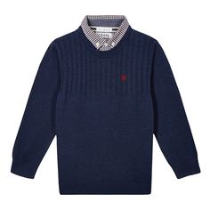 Smarten up his wardrobe with this mockable jumper from our exclusive Jasper Conran range. In navy, the mock shirt collar is checked and the jumper is ribbed with a cable knit.