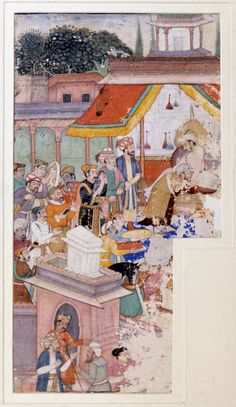 Jahangir investing a courtier with a robe of honour watched by Sir Thomas Roe and others