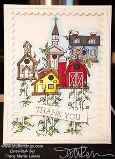 Finished Birdhouses Thank You Card | Tracy Marie Lewis | www.stuffnthingz.com