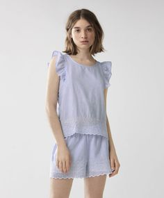 Embroidered sleeveless top, 19.99£ - Embroidered sleeveless top with horizontal stripes. Button fastening at the neck - Find more Spring Summer 2017 trends in women fashion at Oysho.