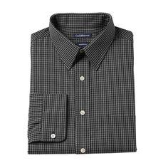 Men's Croft & Barrow® Classic-Fit Solid Broadcloth Point-Collar Dress Shirt, Size: 14.5-32/33, Black