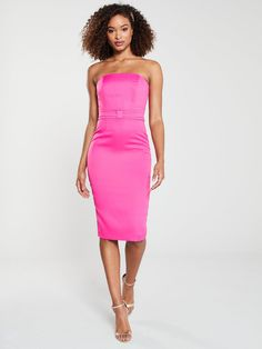 V By Very Premium Origami Pencil Dress - Cerise, Cerise, Size Women - Cerise - 8 Pencil Cut Skirt, Pencil Dress, Dress Outfits, Dress Up, High Leg Boots, Long Toes, Occasion Wear, Bodice, Fitness Models