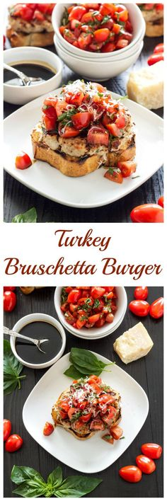 Turkey Bruschetta Burgers, Juicy turkey burgers topped with fresh tomato basil salad and a balsamic drizzle! (This sounds amazing! skip the bread for low carb of course). Turkey Burger Recipes, Turkey Burgers, Ground Turkey Recipes, Chicken Recipes, Hamburger Recipes, Veggie Burgers, Gourmet Sandwiches, Gourmet Burger, Grilling Recipes