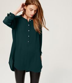 Loft Collarless Henley Tunic Sz M - I need more long flowy shirts to wear with leggings. Love this color too!