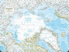 Picture illustration of the Arctic Ocean ice melting on through National Geographic atlases