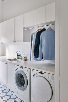 Reclaim space over the counter with hanging rail for shirts - interesting idea for a utility / laundry room! Reclaim space over the counter with hanging rail for shirts - interesting idea for a utility / laundry room! Laundry Room Shelves, Laundry Room Cabinets, Basement Laundry, Laundry Storage, Laundry Room Organization, Laundry In Bathroom, Organization Ideas, Storage Ideas, Diy Cabinets
