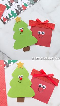 CHRISTMAS TREE & PRESENT CARD ? Such a cute Christmas card idea. An easy Christmas card for kids to make. An east Christmas tree card with free printable template. Make a Christmas tree or present card! Only a few supplies needed. Christmas Tree With Presents, Simple Christmas Cards, Christmas Card Crafts, Preschool Christmas, Preschool Crafts, Handmade Christmas, Holiday Crafts, Christmas Decorations, Christmas Christmas