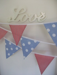 English Tea Party Red White and Blue Bunting by rosiegirllondon, $20.00