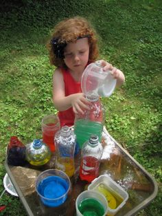 Pretend Potions!  Color mixing and experimentation for little scientists.
